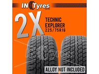 2x 225/75R16 Technic Explorer AT Tyres Two All Terrain 225 75 16 A/T 4x4 x2
