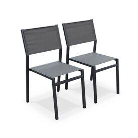 [6x Alabama chairs] Black aluminium and grey textilene