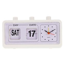 Retro Fashion Flip Clock Digtal Flip Date Time Display Clock White