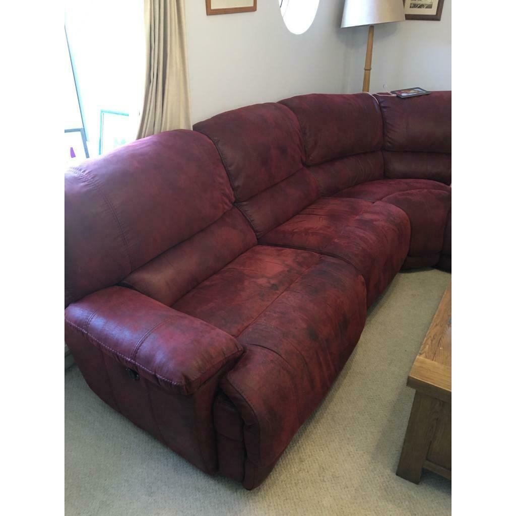 Red leather corner sofa electric recliner | in Romsey ...