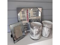 2 LARGE GLASS MARBLE VASES ,1 LARGE SILVER MIRRORED PHOTO FRAME ,1 SMALL GLITTER FRAME.