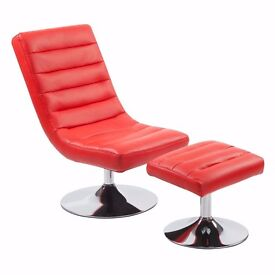 Red faux leather swivel chair and footstool
