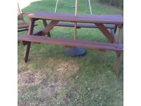 Solid wood garden pub style bench set,need collecting asap