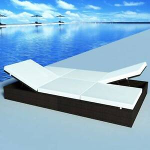 Double Sun Lounger with Cushion Poly Rattan Brown JQM4R-41786