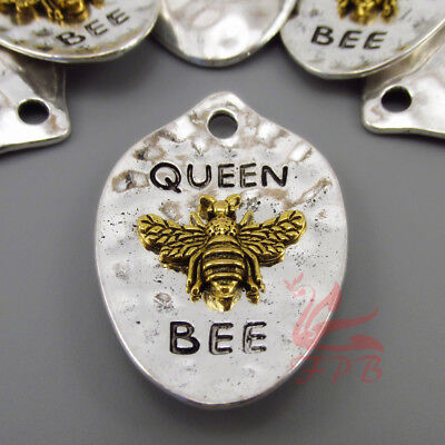 Queen Bee Pendants - 43mm Antiqued Silver Plated Honey Bee Charms - 2/4/8PCs - Bee Charms