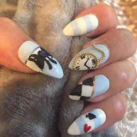 Alice in Wonderland Hand Painted False Nails