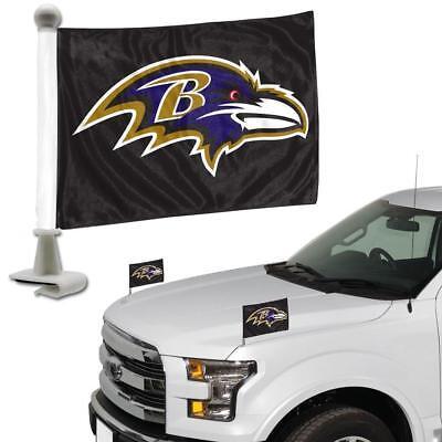 Baltimore Ravens Ambassador Car Flag 2 Piece Set  [NEW] NFL Banner Sign Truck