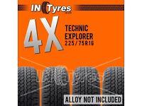 4x 225/75R16 Technic Explorer AT Tyres Four All Terrain 225 75 16 A/T 4x4 x4