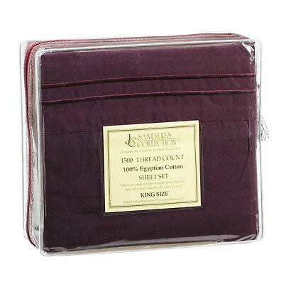KING SIZE DARK PURPLE 1500 THREAD COUNT LUXURY EGYPTIAN COTTON SHEET SET (1500 Thread Count Egyptian Cotton Sheets King)
