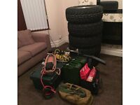 5 jeep alloy mud tyres and parts