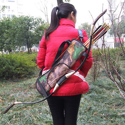 Outdoor Hunting Back Arrow Quiver Archery Bow Arrows Holder Belt Bag Camo Pouch