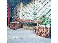 Garden flower bench 2 box, orginal wood