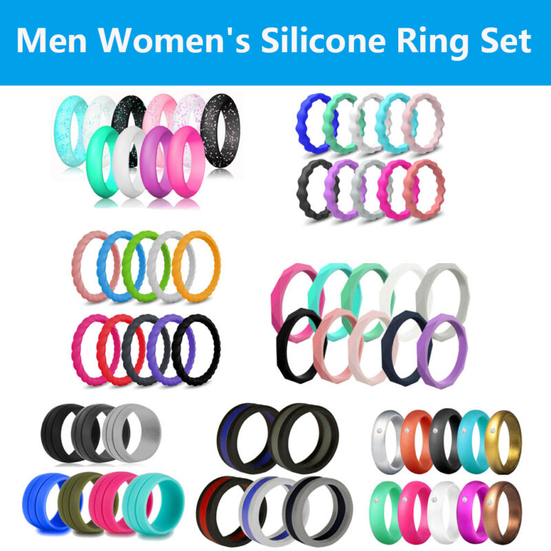 5/7/10 Pack Set Flexible Silicone Ring Men Women Rubber Wedding Band Size 5-10#