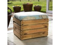 Upcycled vintage crate footstool storage seat/ottoman with upholstered padded hinged lid