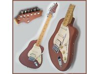 Electric Guitar – unique, custom built, leather covered – with gig bag