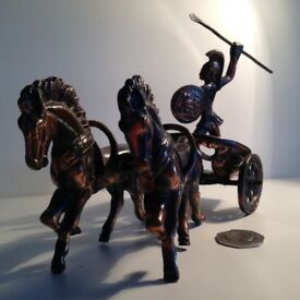 VINTAGE BRASS GREEK/ROMANCHARIOT& 2 HORSES
