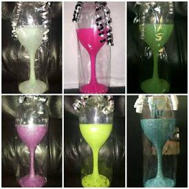 Various Coloured Glittered Wine Glasses