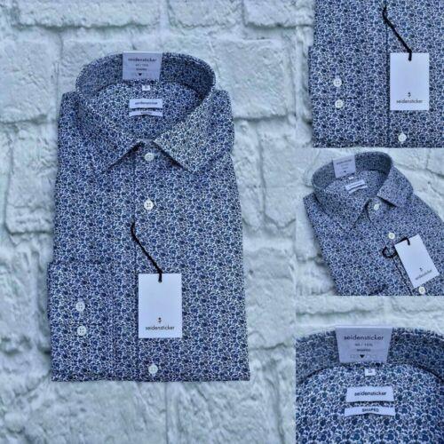 Seidensticker Liberty Print Shirt, Shaped Fit, Size Medium, Blue Floral, BNWT