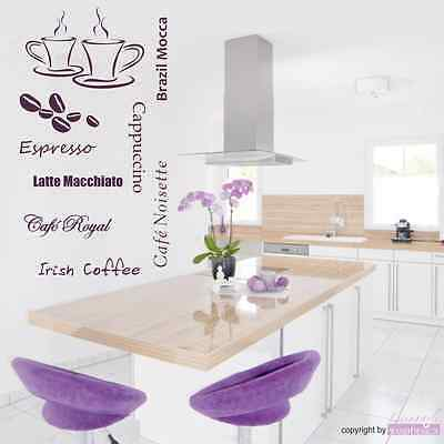 ADESIVO MURALE 7 caffè caffè Tazze Cucina Espresso Cappuccino Adesivo da parete