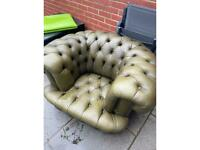 Antique horse hair leather seat