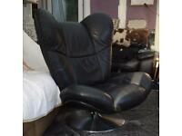 SOFT BLACK LEATHER RECLINING SWIVEL CHAIR WITH MATCHING STOOL