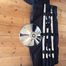 X-POLE (XX) 45mm Chrome pole static and spinning, carry case, instructions, like new.