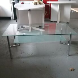 Heavy two tier glass coffee table