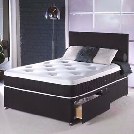 WOW AMAZING OFFER **(DELIVERY IS FREE) 4ft6 double divan bed with deep quilted mattress