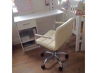 🌟white desk and cream chair