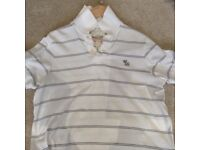 Men's White & Grey Stripe Abercrombie & Fitch Polo T-Shirt Size Large - Muscle Fit