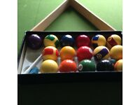 Classic Pool table with cues, snooker and pool balls