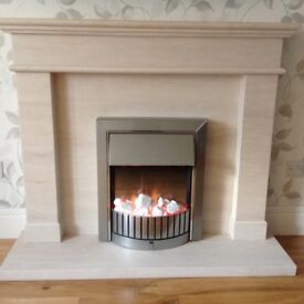 Fireplace - solid stone resin marble effect with electric fire