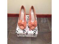 Shoes, Kurt Geiger, ladies, salmon suede, heels, size 6/39