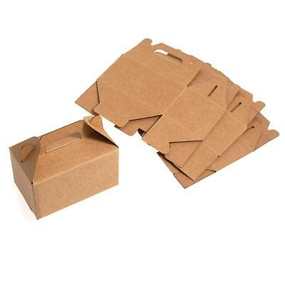 Bridal Craft Brown Paper Cube Cookie Cake Gift Favour Boxes Wedding supply x 5