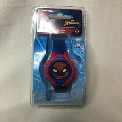 Marvel Spider-Man Kids Boys Flashing LCD Watch *New*
