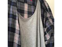 Ladies check shirt with vest insert