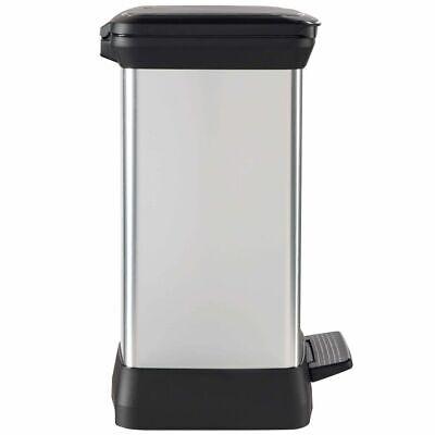 Curver Deco Duo Pedal Bin 28L Silver Rubbish Dustbin Trash Can Waste Container