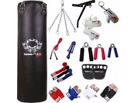 TurnerMAX Hanging Punch Bag Canvas 13 Piece Set includes A Wall Bracket For Boxing, MMA