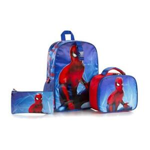Spiderman Deluxe Kids 15 Inch Backpack with Lunch Bag and Pencil Case Set