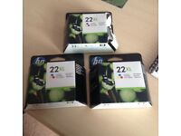 HP 22XL tricolour ink cartridges x 3