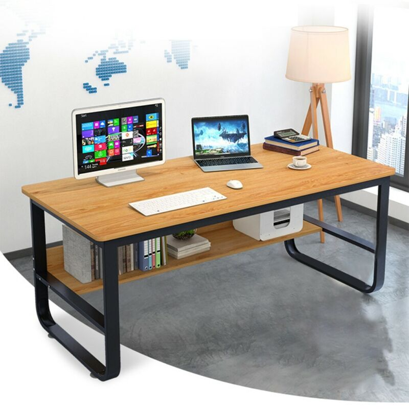 Modern Home Office Desk Computer Wood Table  with Storage Sh