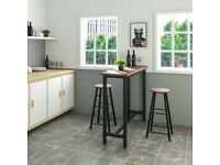Breakfast bar / high kitchen dining table set with 2 matching stools - 120cm(l)x40cm(d)x100cm(h)