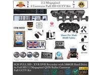 4 Cameras Full HD CCTV KIT, 8CH FULL HD TURBO XVR DVR, 4x 2.2MP Bullet Cameras