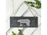 Personalised Bear Slate Door Plaque