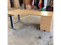 Oak L Shape Desk & Filing Cabinet