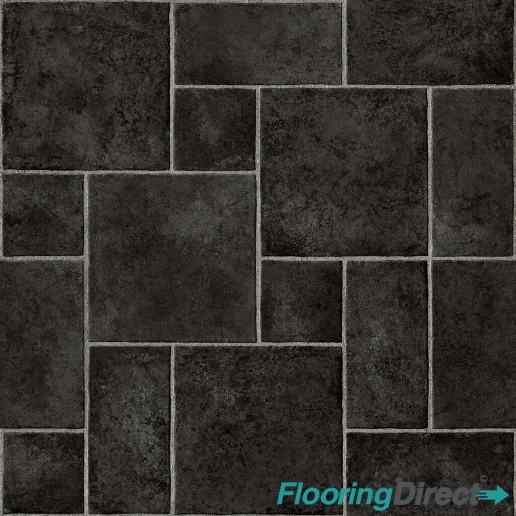 Kitchen Cushion Flooring Black Siena Tile Vinyl Flooring Slip Resistant Lino 3m X 25