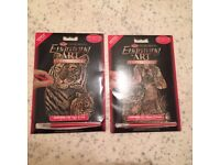 Two Copper Foil Engraving Art Kits 5cm X 7cm; Kitten and puppy; Tiger and cub, NEW