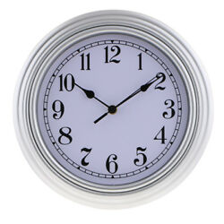 KITCHEN WALL CLOCK 30cm 12 QUARTZ MOVEMENT BIG WATCH - for Home Cafe Silver