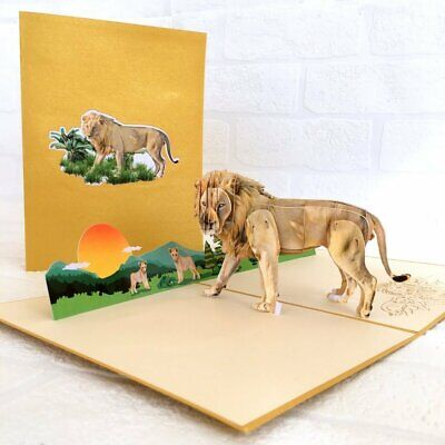 Handmade Male Lion 3D Pop Up Greeting Card For Kids Jungle A