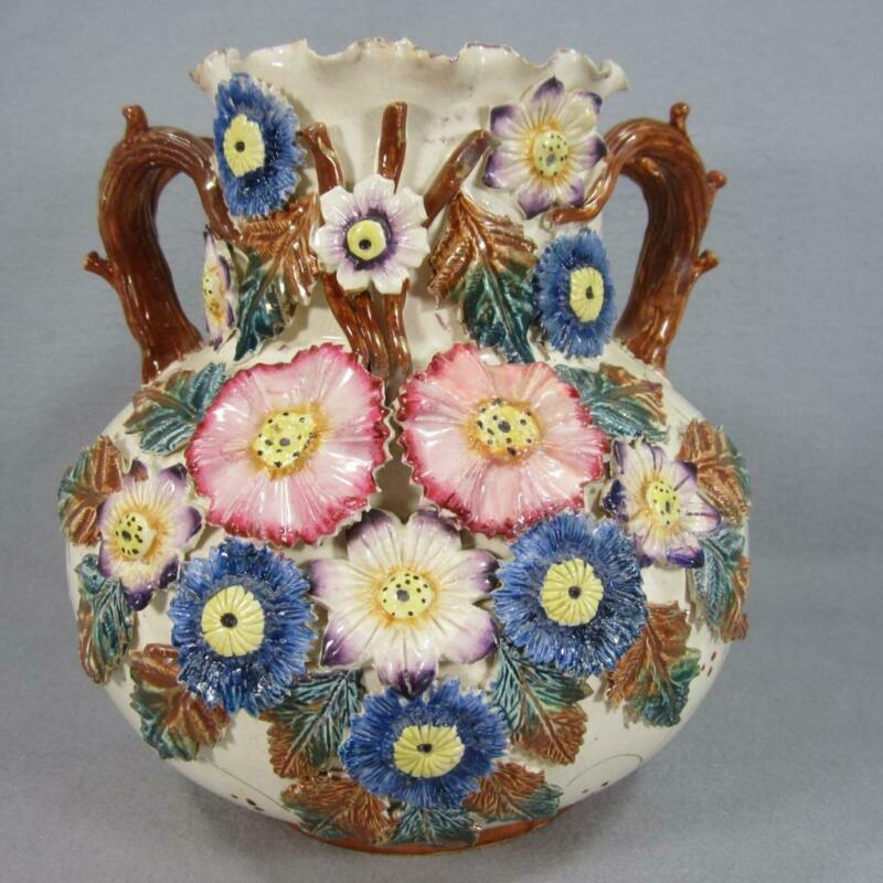 Antique Majolica Barbotine Vase from England